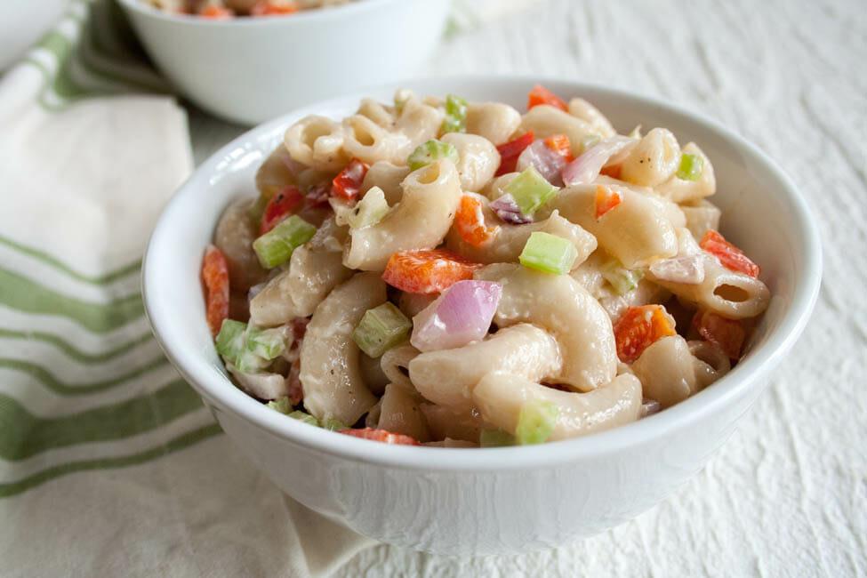 Vegan Macaroni Salad close up.