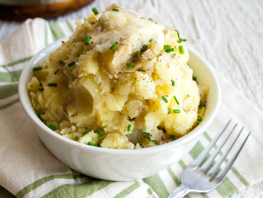 Vegan Mashed Potatoes with Roasted Garlic close up.