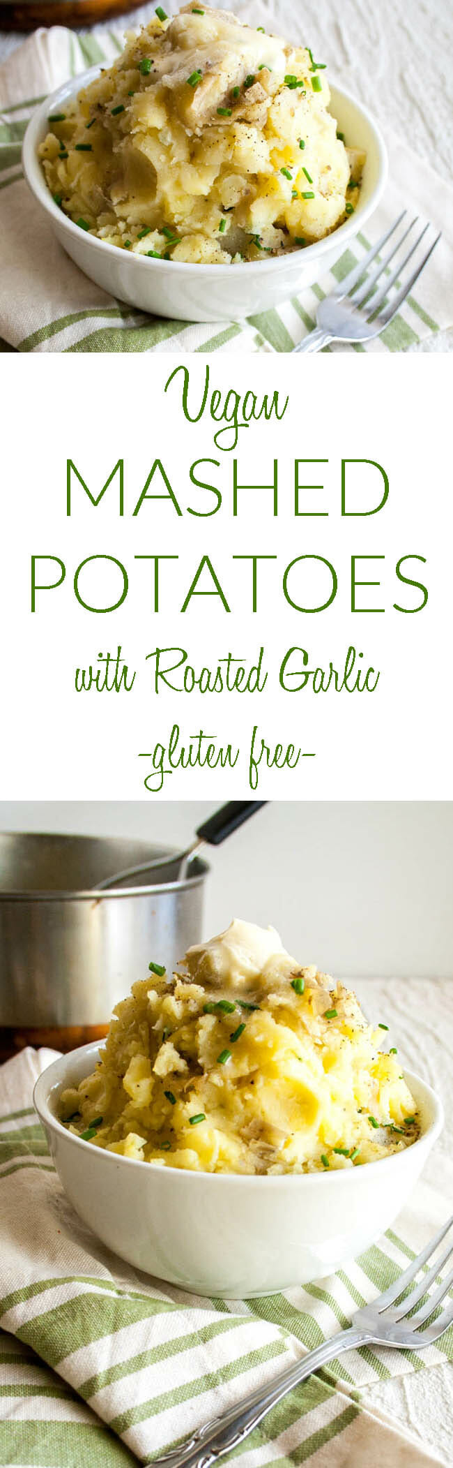 Vegan Mashed Potatoes with Roasted Garlic collage photo with text.