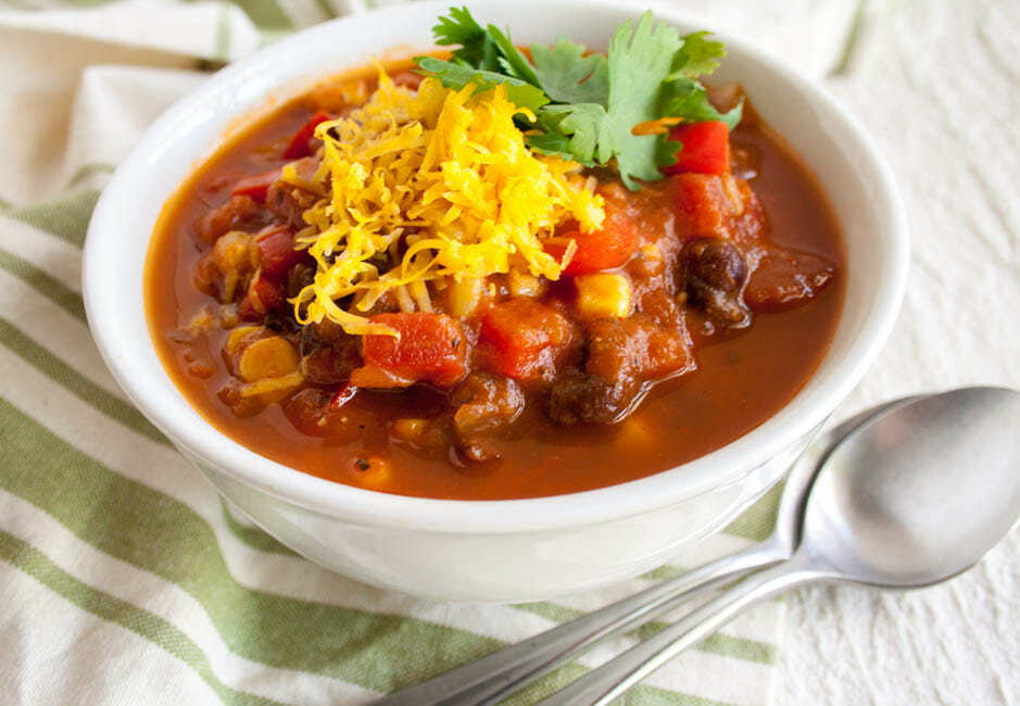 Easy Black Bean Chili close up.