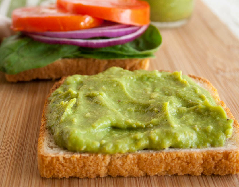 Healthy Mayo made from avocado on a slice of bread.