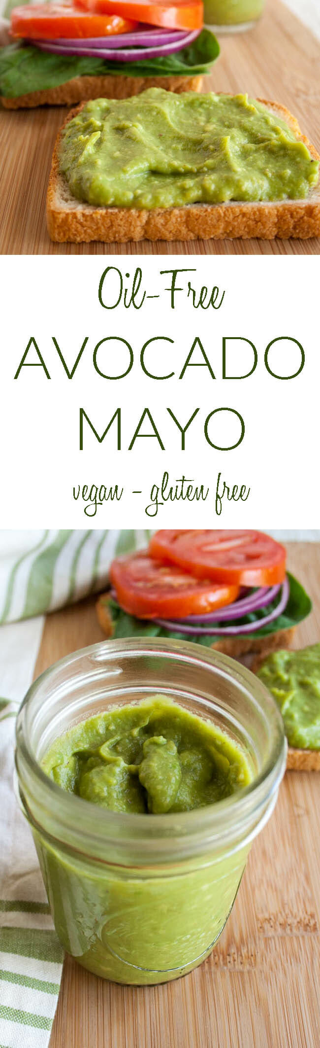 Oil-Free Avocado Mayo collage photo with text.