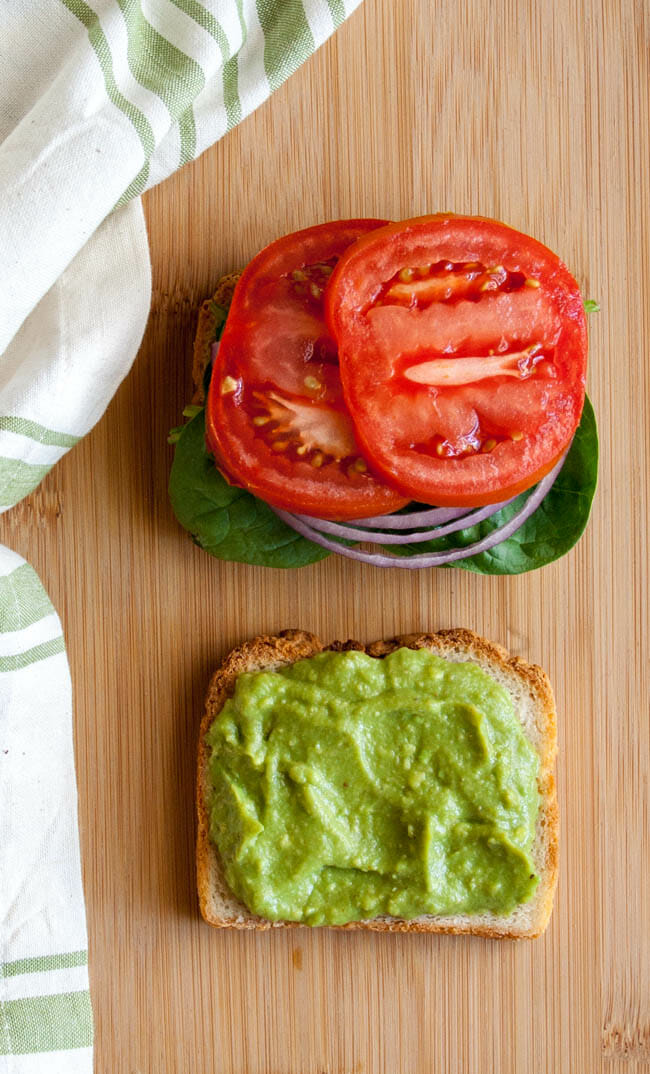 Avocado Mayonnaise on an open faced sandwich.