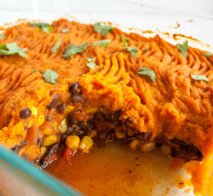 Vegan Mexican Shepherd's Pie in baking dish.