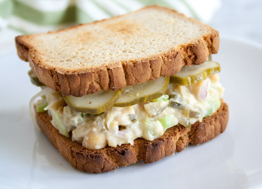 Chickpea Salad Sandwich close up.