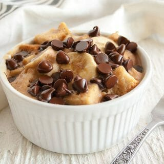 Chocolate Banana Peanut Butter Microwave Bread Pudding
