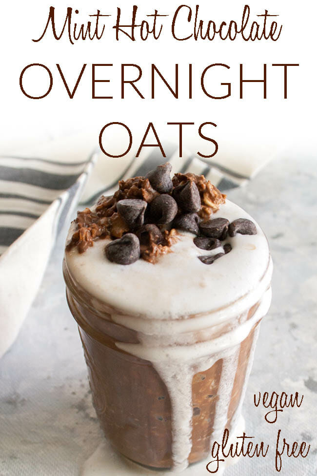 Mint Hot Chocolate Overnight Oats photo with text.