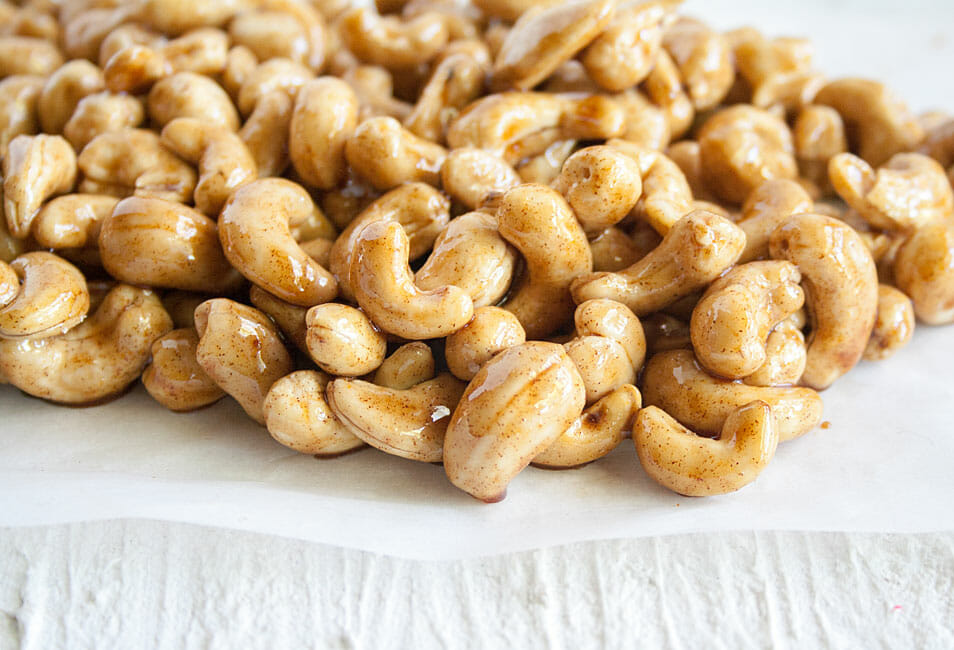 Candied Nuts close up.