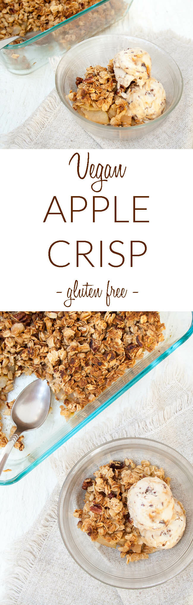 Vegan Apple Crisp collage photo with text.