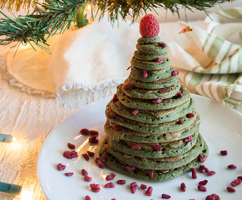 Vegan Pancakes in the shape of Christmas tree.