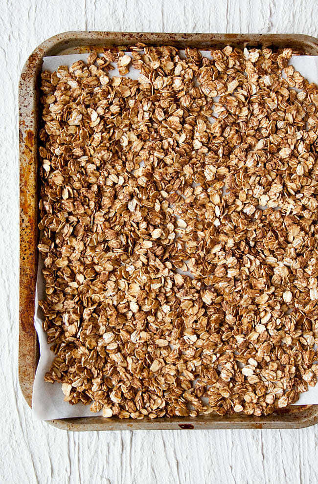 Gingerbread Granola on sheet pan.