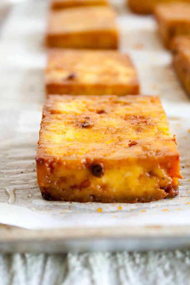 Baked Tofu Recipe close up.