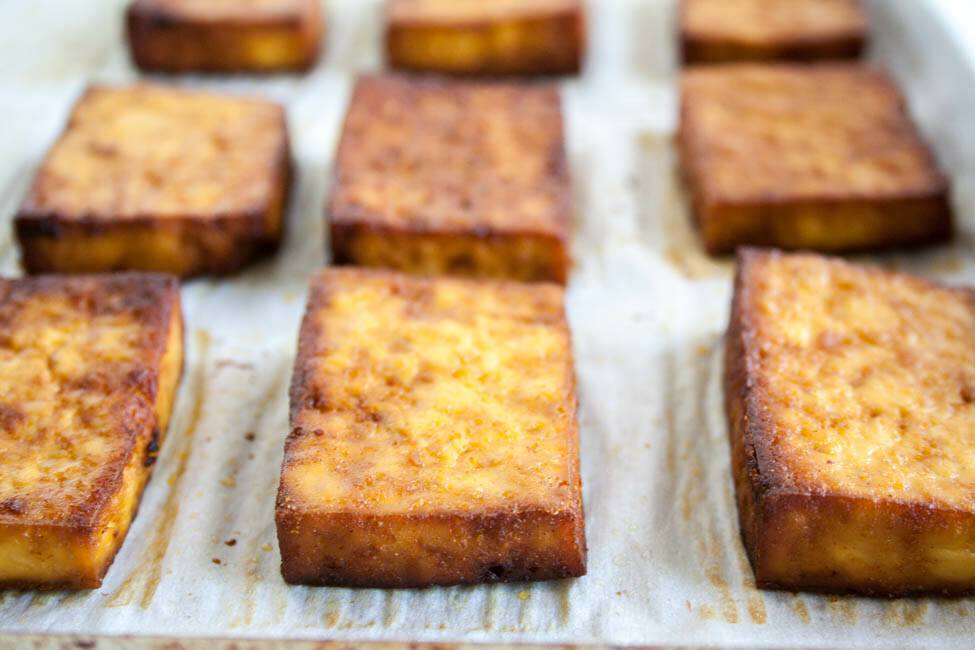 Healthy Baked Tofu close up.