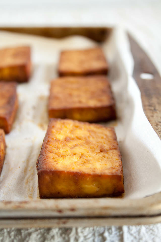 Baked Marinated Tofu close up.