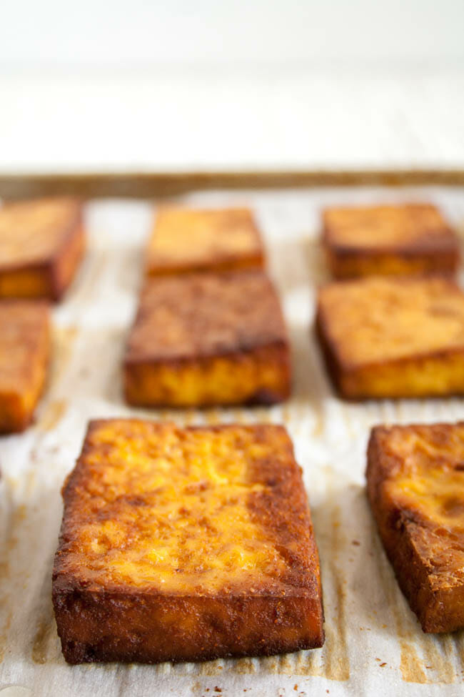 Savory Baked Tofu on a sheet pan.