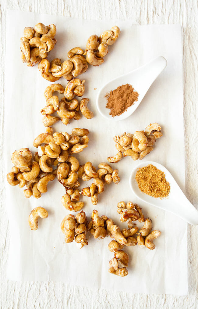 Candied Cashews with ingredients.