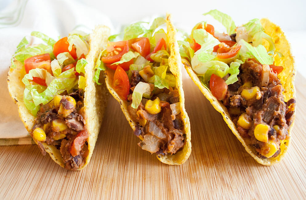 Vegan Tacos with black beans and corn.