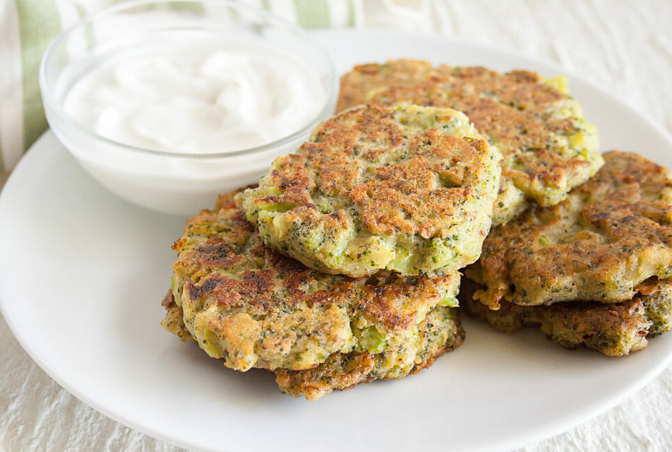 Vegan Broccoli Patties on a plate with dip.