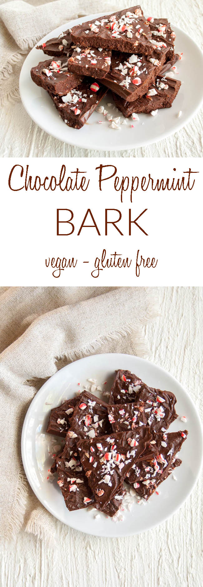 Vegan Chocolate Peppermint Bark collage photo with text.
