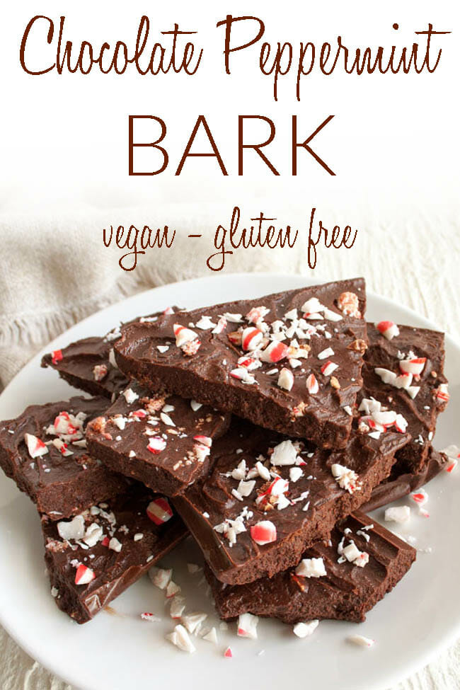 Chocolate Bark with Peppermint photo with text.