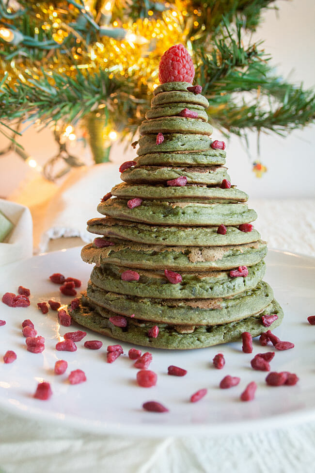 Spirulina Pancakes in the shape of a Christmas tree.