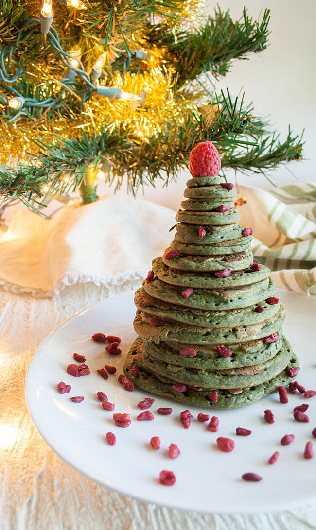 Green Pancakes in the shape of a Christmas Tree.