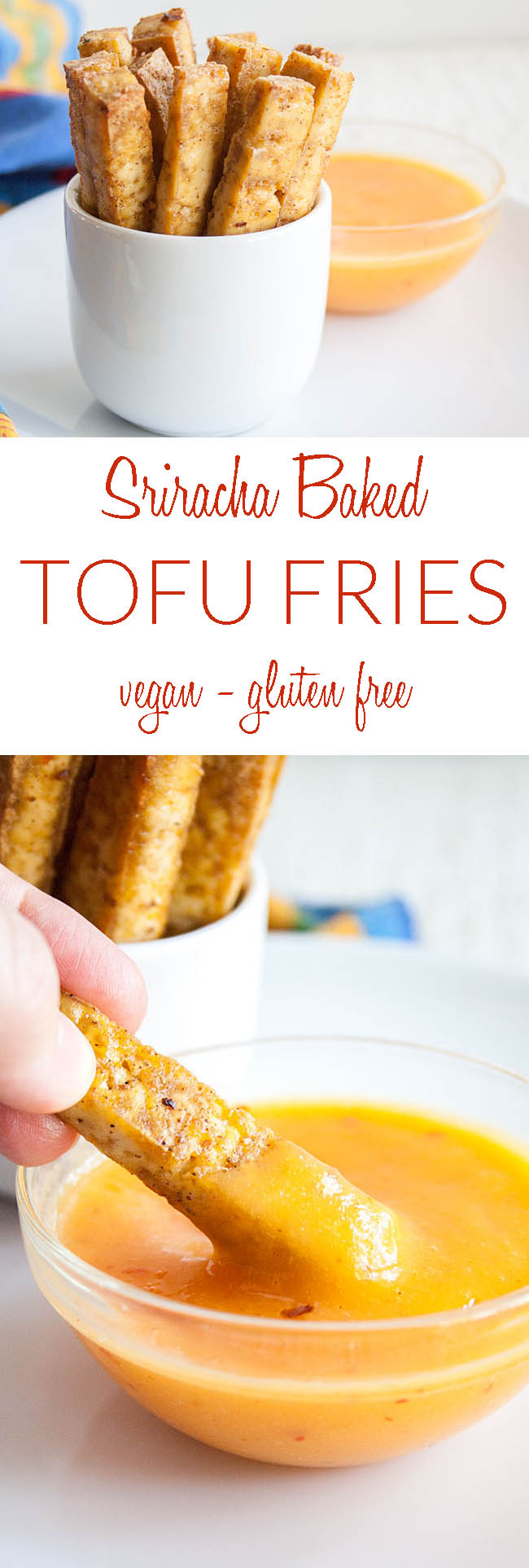 Spicy Tofu Fries collage photo with text.