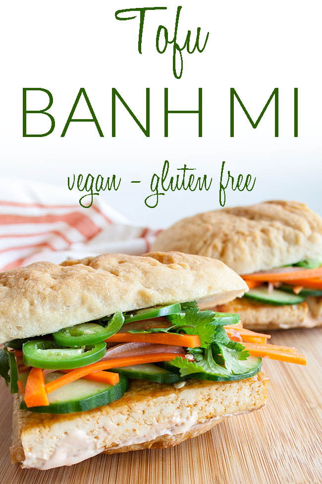 Spicy Tofu Bánh Mì photo with text.