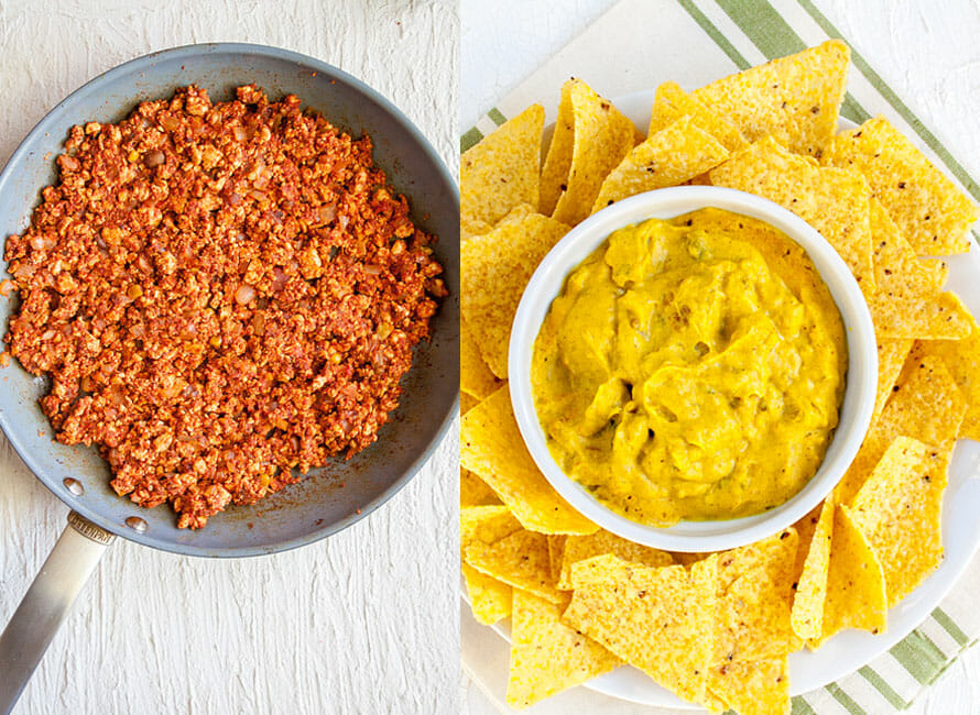 Photo on left is crumbled Spicy Tofu in a pan. Photo on right is Tofu Nacho Cheese Sauce with tortilla chips.