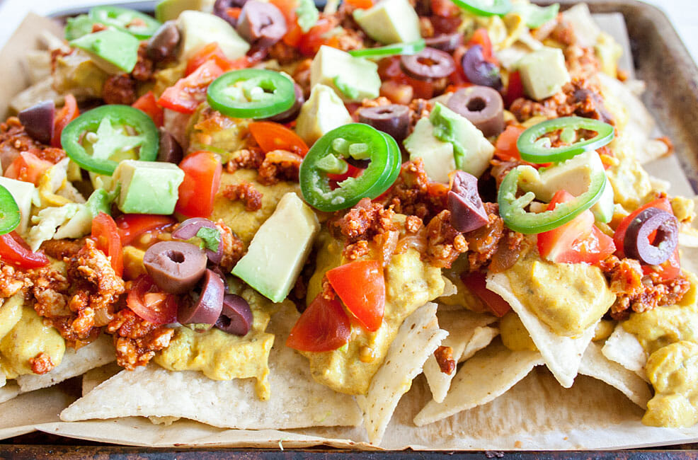 Tofu Nachos close up.