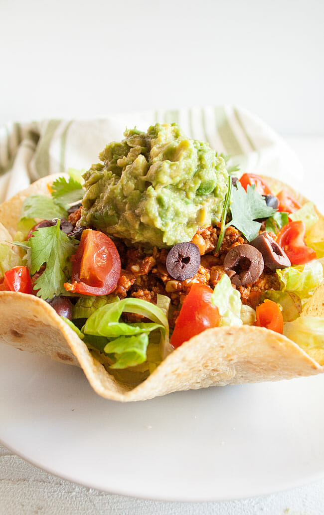 Vegan Taco Salad in a Homemade Tortilla Bowl