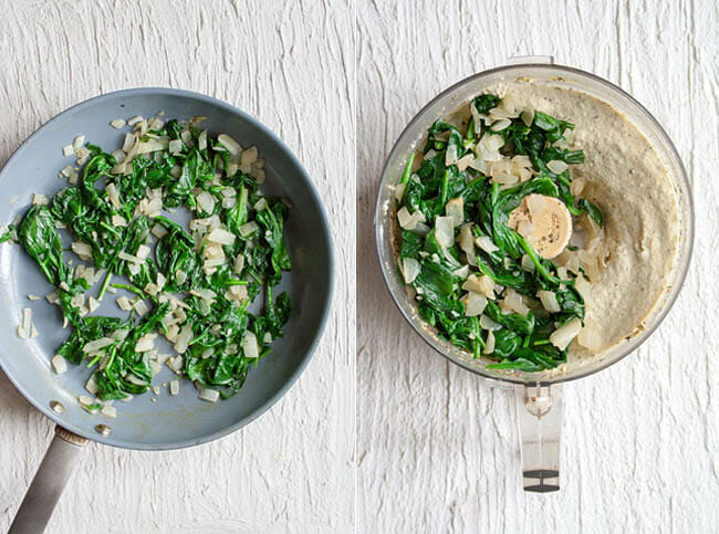 Left photo: Spinach and onions in a pan. Right photo: Tofu Ricotta and spinach and onions in a food processor.