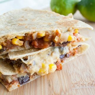 Black Bean and Corn Hummus Quesadilla