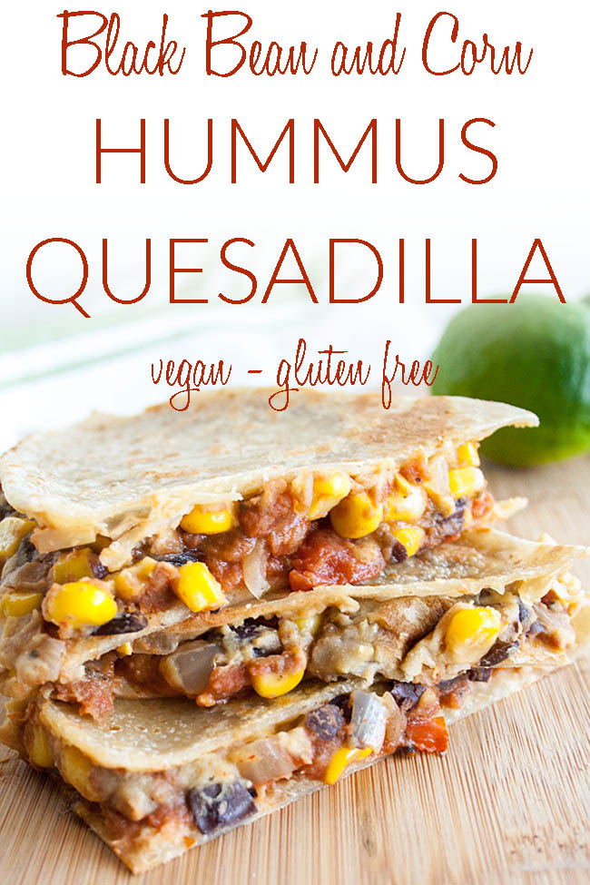 Black Bean and Corn Hummus Quesadilla photo with text.