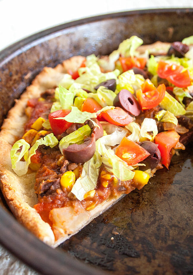 Black Bean and Corn Taco Pizza in pan.