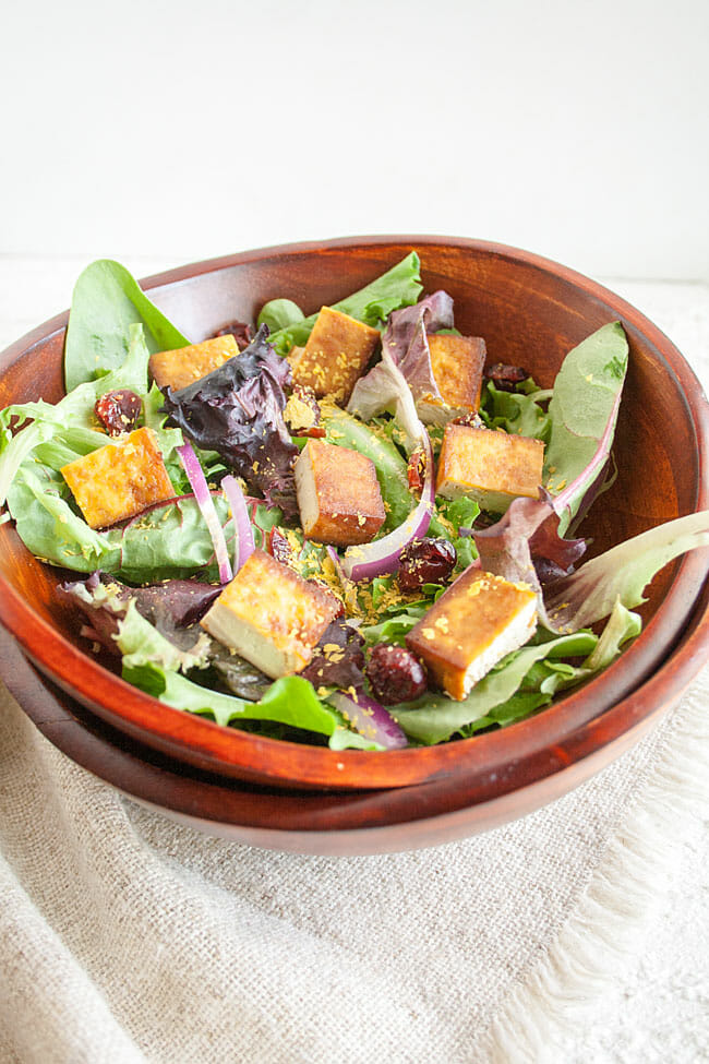 Tofu Salad in wooden bowl.