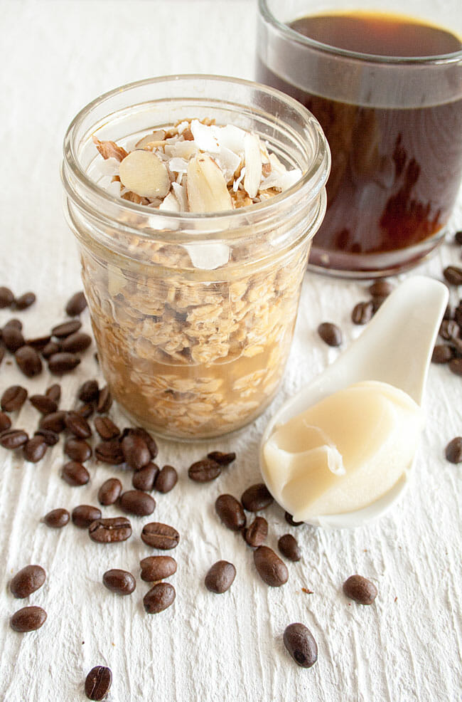 Thai Coffee Overnight Oats with coffee in background.