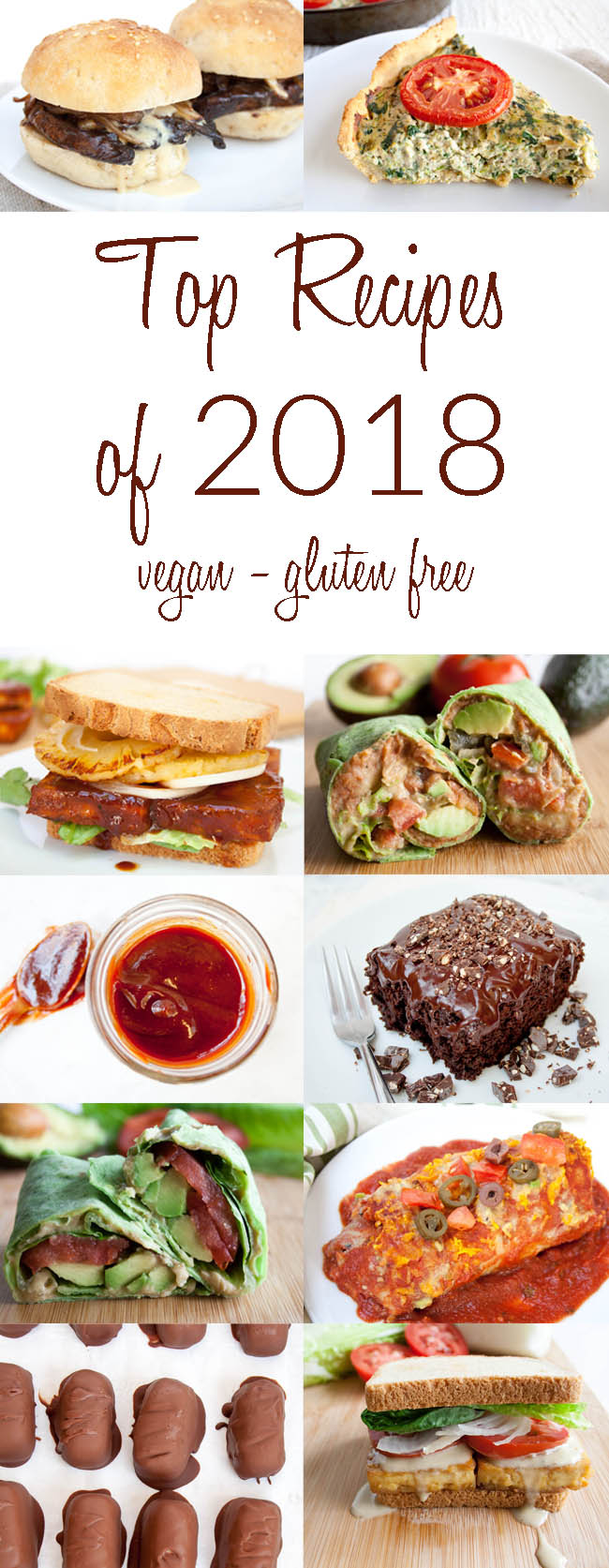 Top 10 Recipes of 2018 collage photo with text.