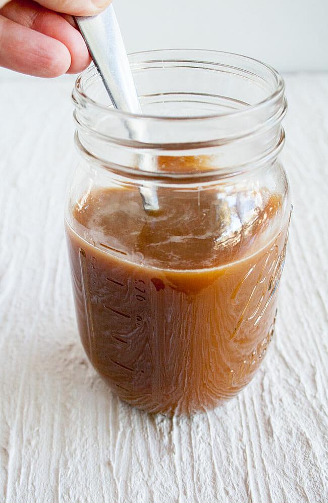 Thai Iced Coffee bring stirred.