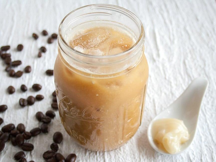Cold Brew Thai Iced Coffee in mason jar.