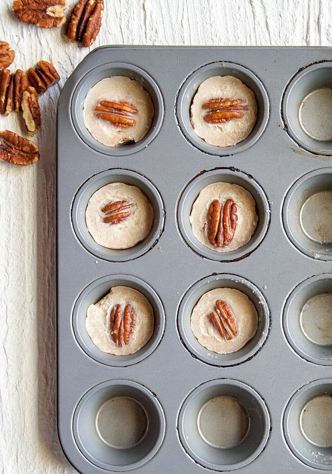 Vegan Fat Bombs in a mini cupcake pan.