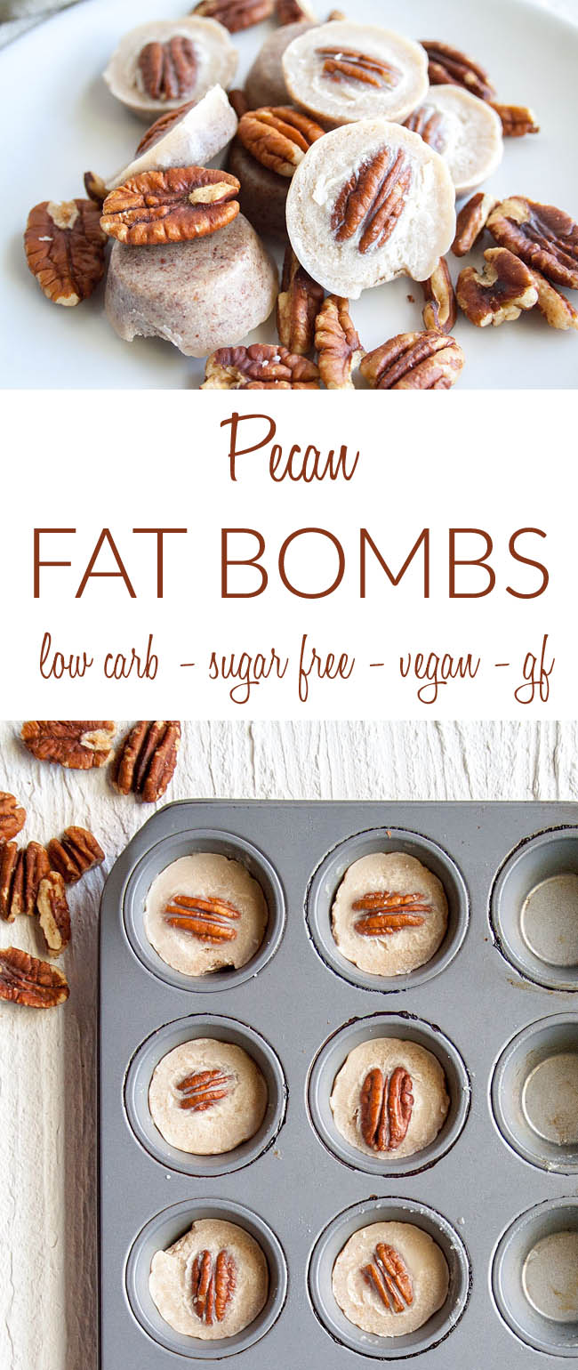 Pecan Fat Bombs collage photo with text.