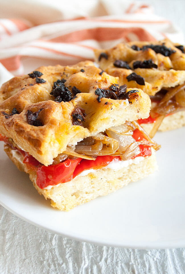 Roasted Red Pepper and Caramelized Onion Focaccia Sandwich on a plate