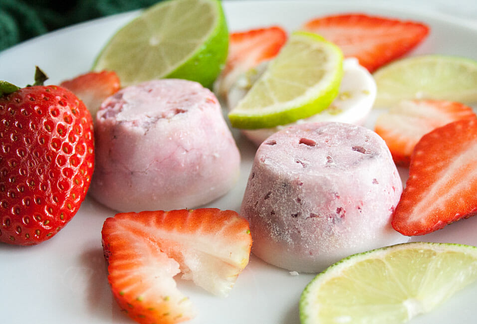 Strawberry Mojito Fat Bombs on a plate close up.
