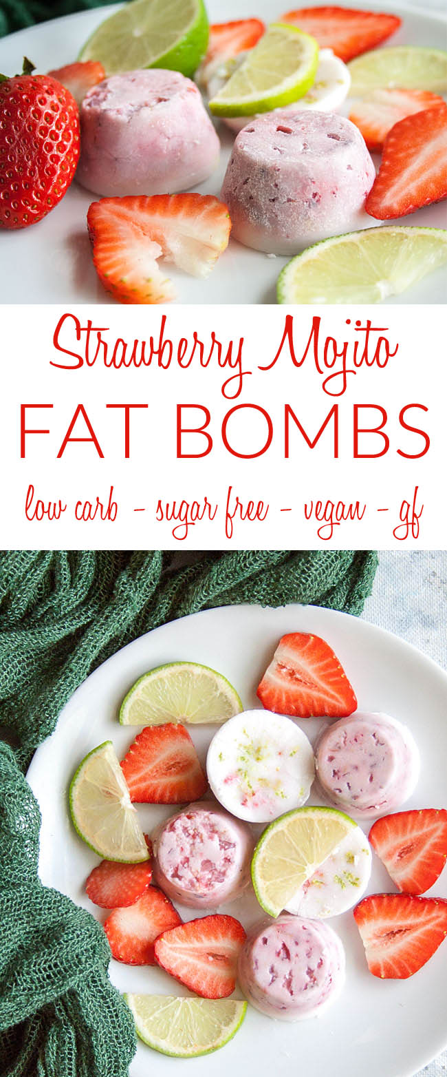 Strawberry Mojito Fat Bombs collage photo with text.