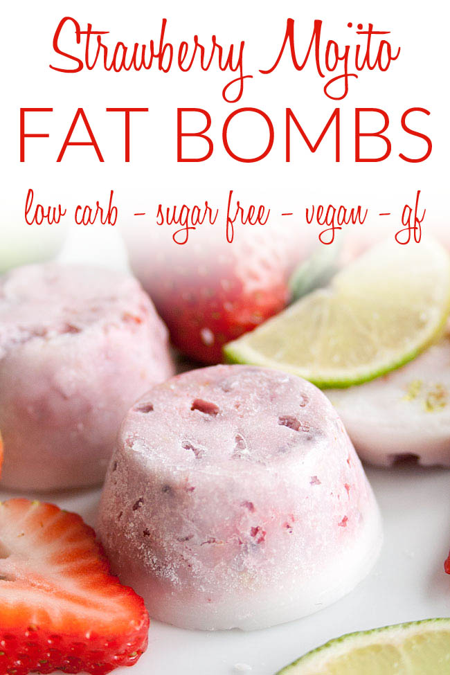 Strawberry Mojito Fat Bombs photo with text.