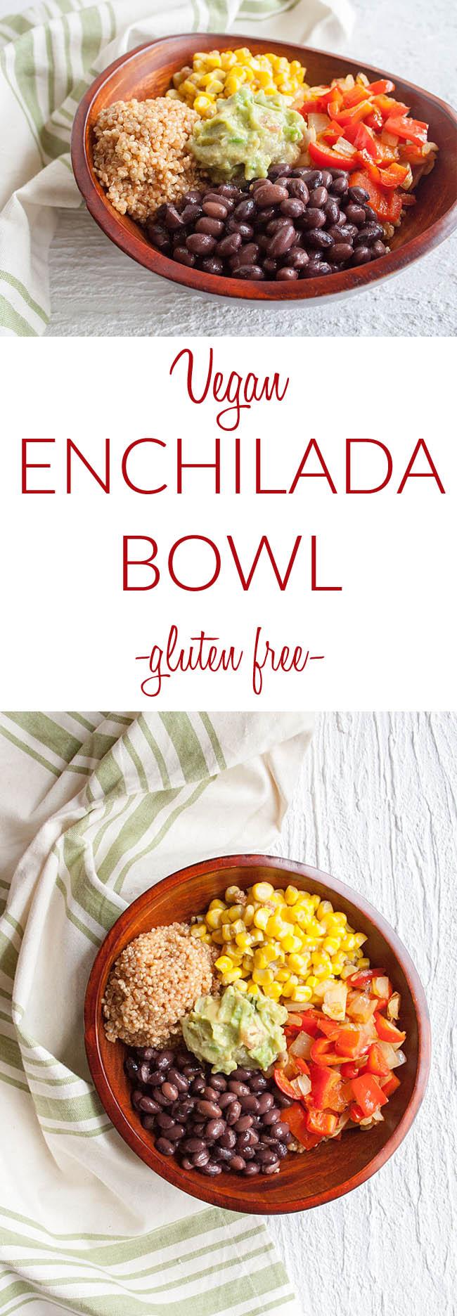 Vegan Enchilada Bowl collage photo with text.
