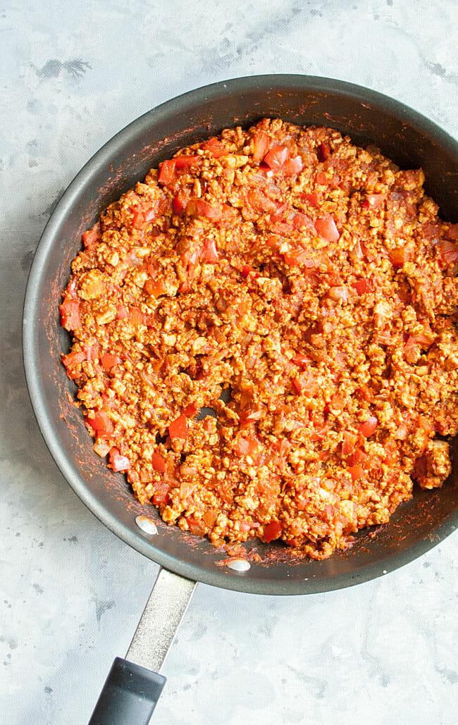 Tofu Sloppy Joes mixture in pan.