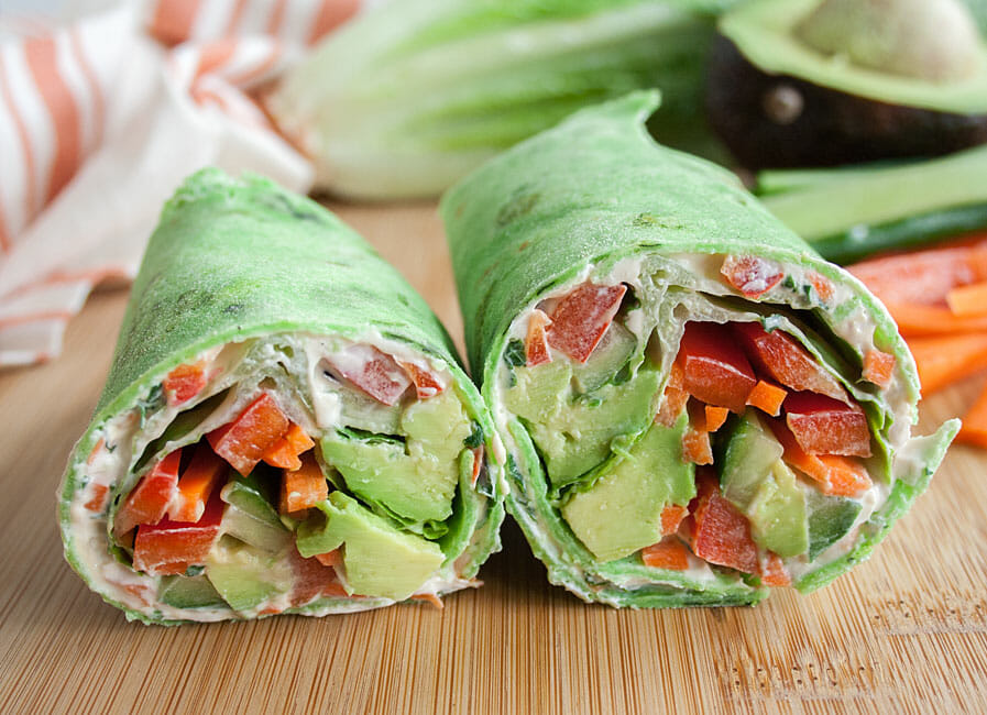 Vegan Veggie Wrap with Cream Cheese close up.