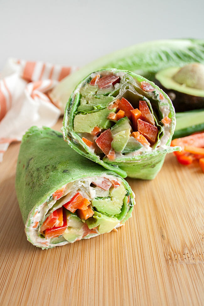 Vegan Veggie Wrap on cutting board.